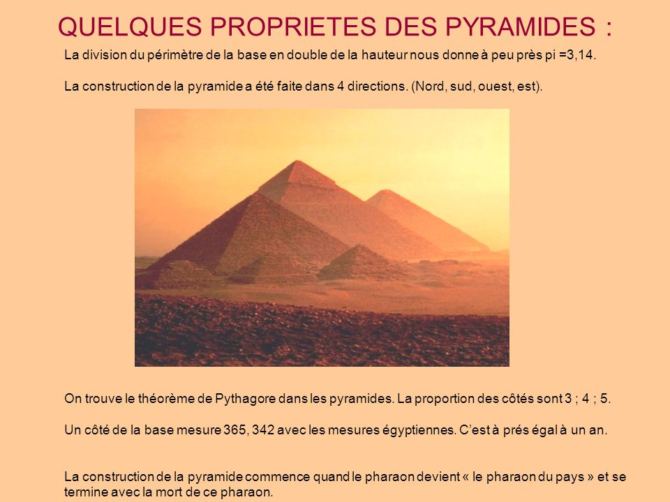 QUELQUES PROPRIETES DES PYRAMIDES :