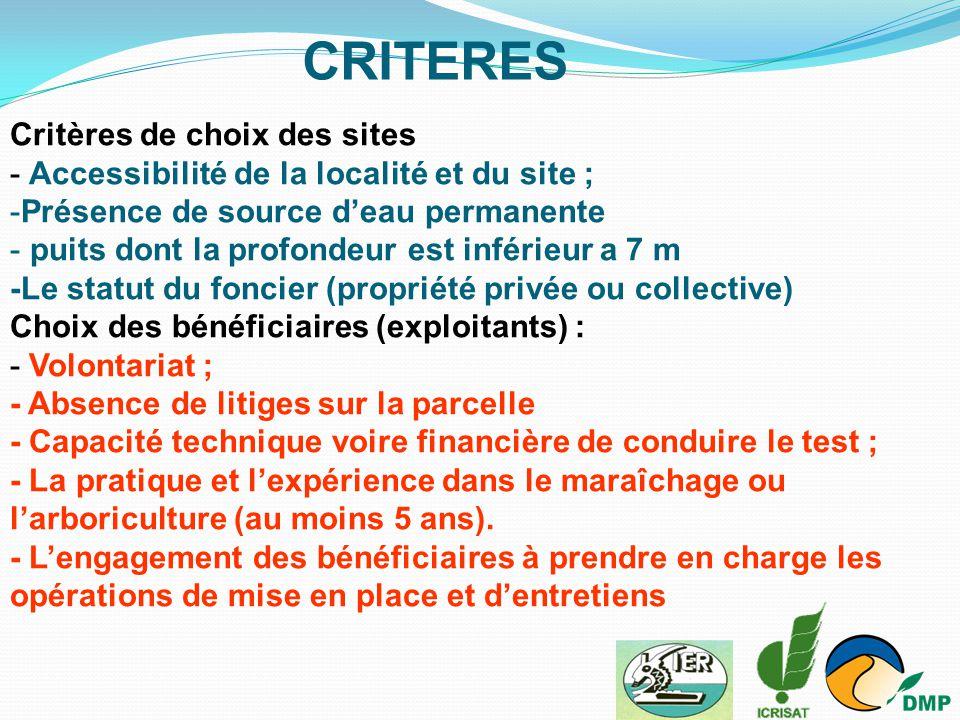 CRITERES Critères de choix des sites
