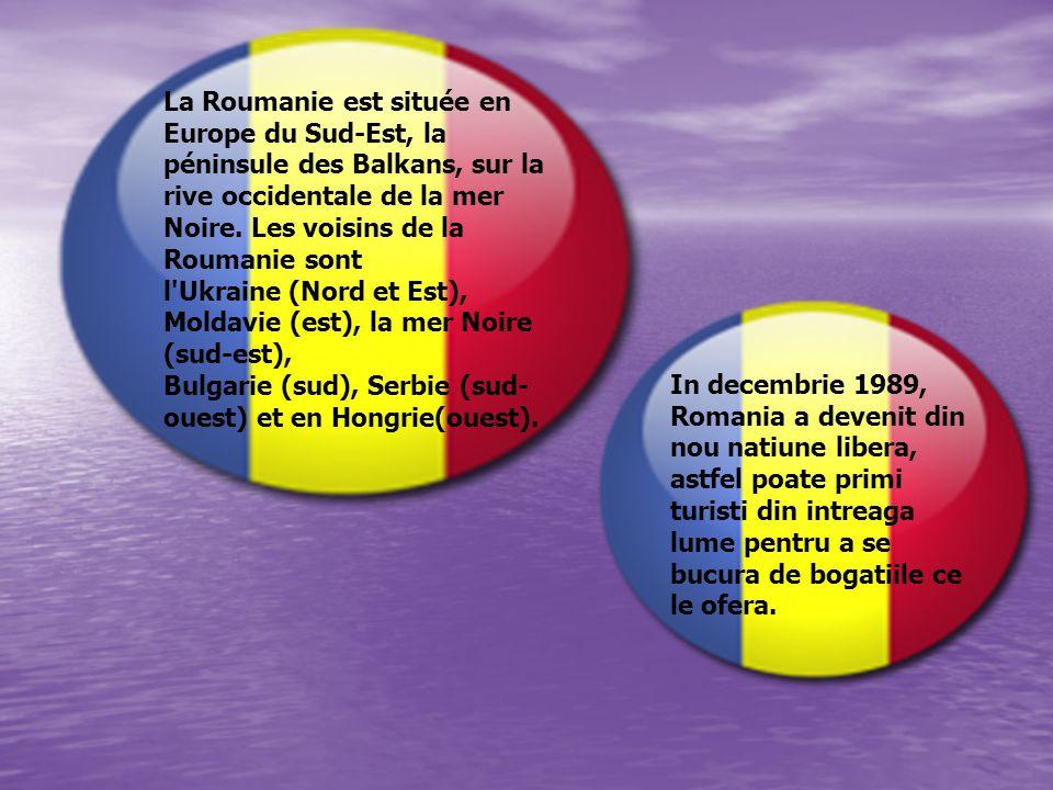 La Roumanie est située en Europe du Sud-Est, la péninsule des Balkans, sur la rive occidentale de la mer Noire. Les voisins de la Roumanie sont l Ukraine (Nord et Est), Moldavie (est), la mer Noire (sud-est), Bulgarie (sud), Serbie (sud-ouest) et en Hongrie(ouest).