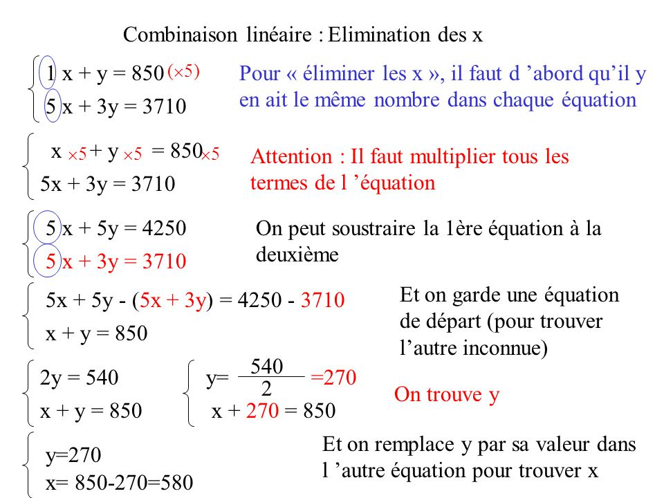 Combinaison linéaire : Elimination des x