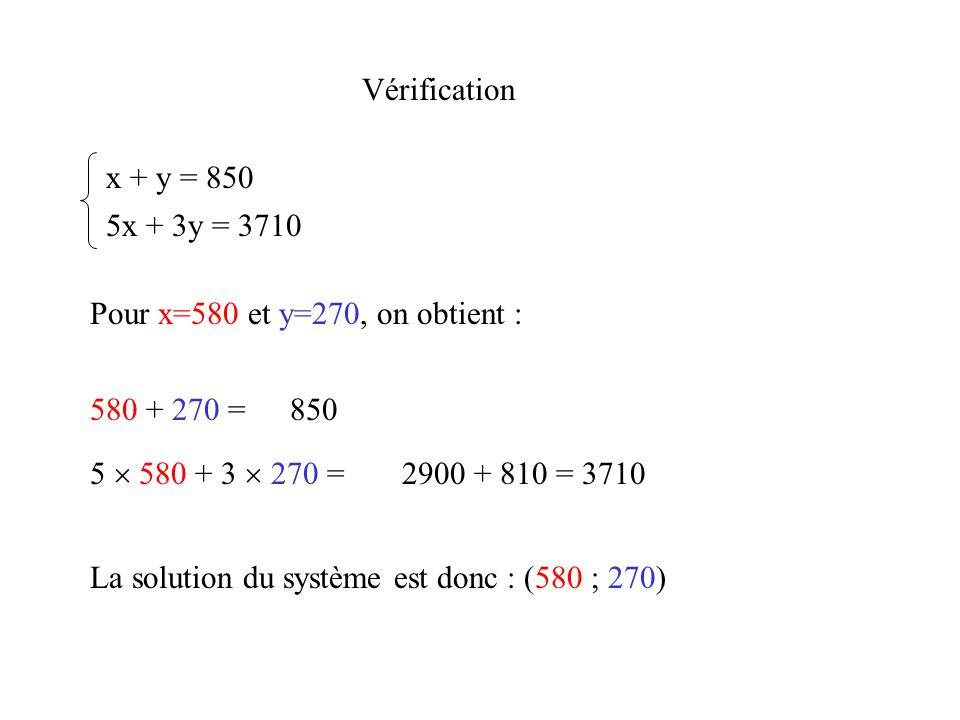 Vérification x + y = 850. 5x + 3y = 3710. Pour x=580 et y=270, on obtient : 580 + 270 = 850. 5  580 + 3  270 =