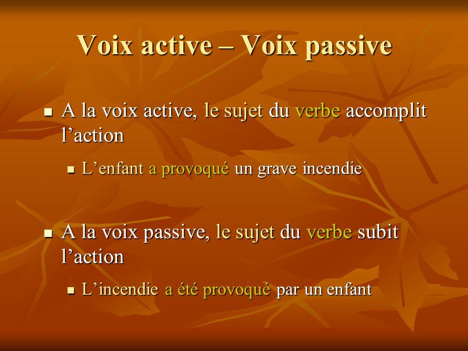 Voix active – Voix passive