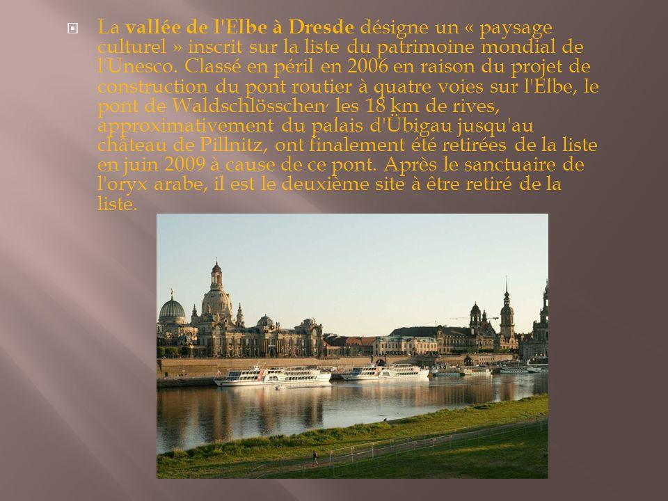 La vallée de l Elbe à Dresde désigne un « paysage culturel » inscrit sur la liste du patrimoine mondial de l Unesco.