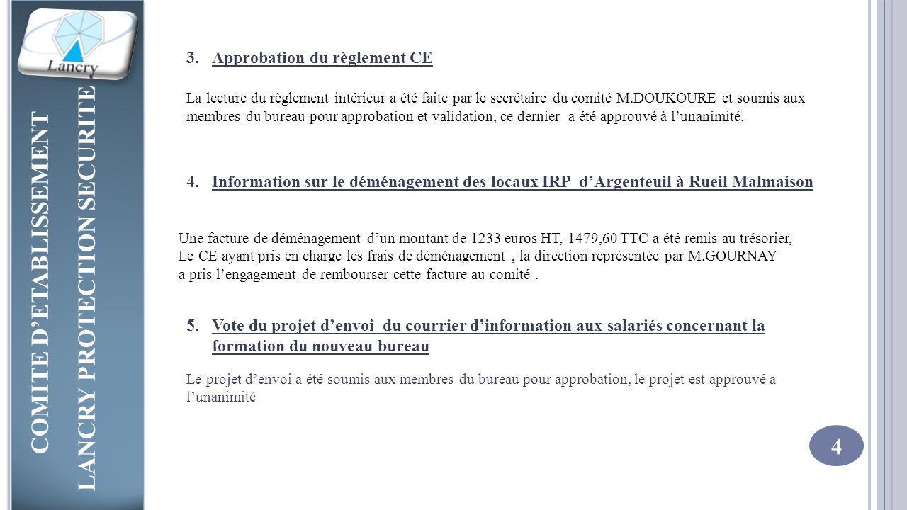 Approbation du règlement CE