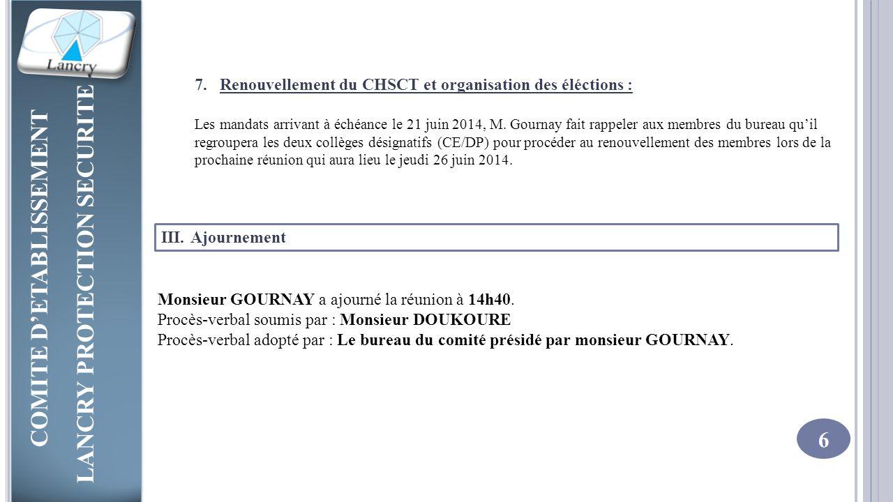 Renouvellement du CHSCT et organisation des éléctions :