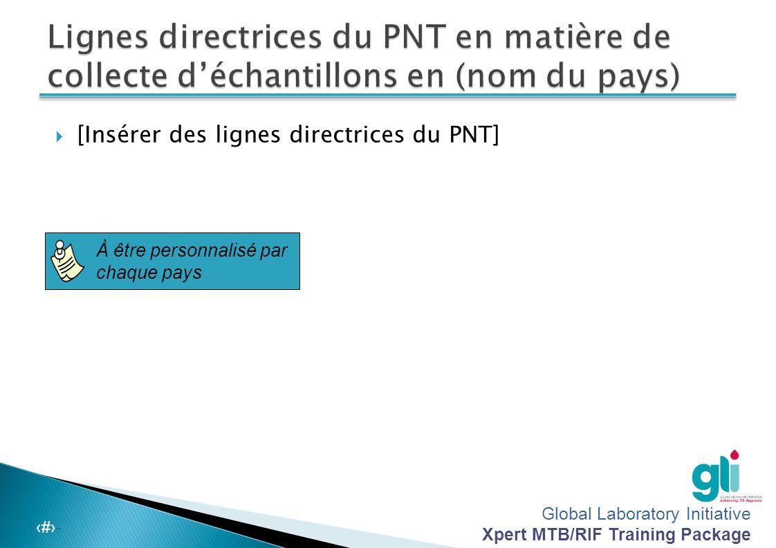 Lignes directrices du PNT en matière de collecte d'échantillons en (nom du pays)