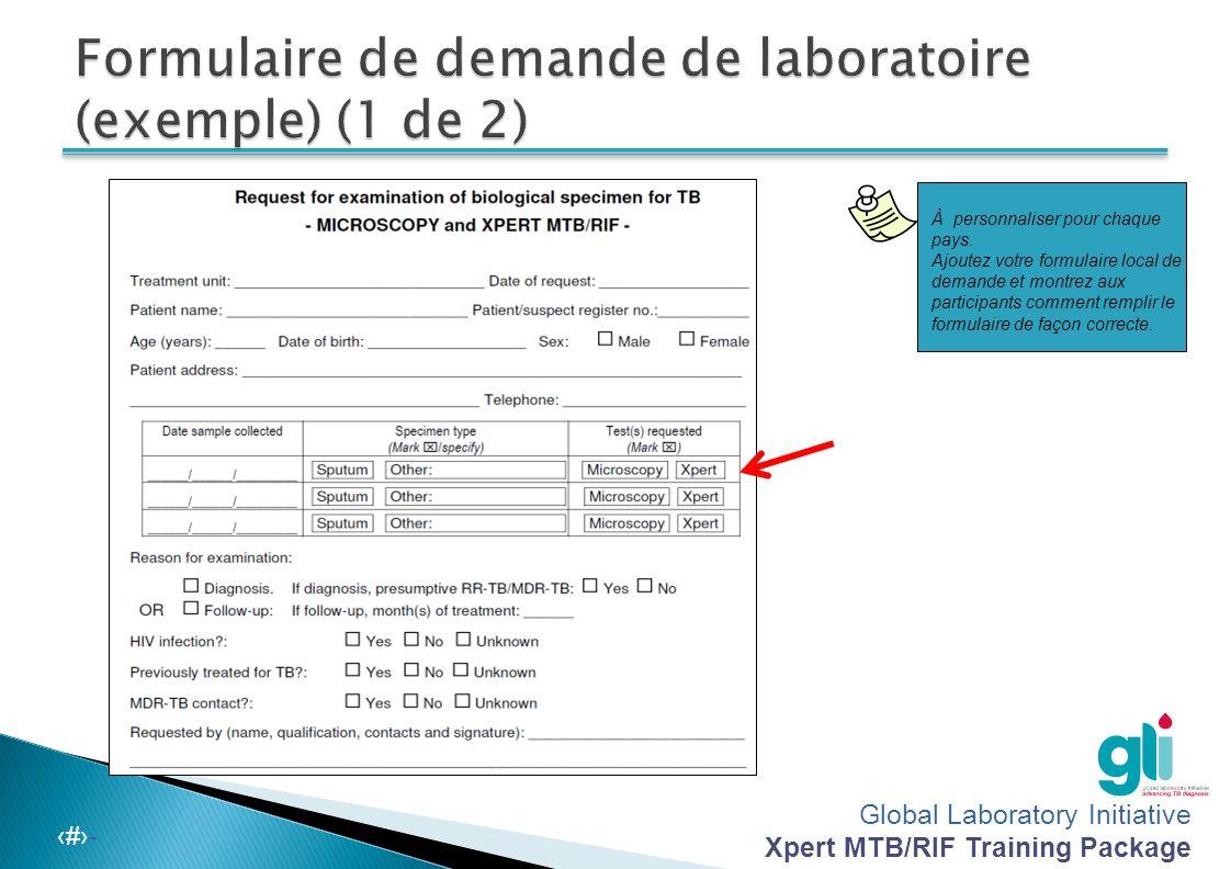 Formulaire de demande de laboratoire (exemple) (1 de 2)