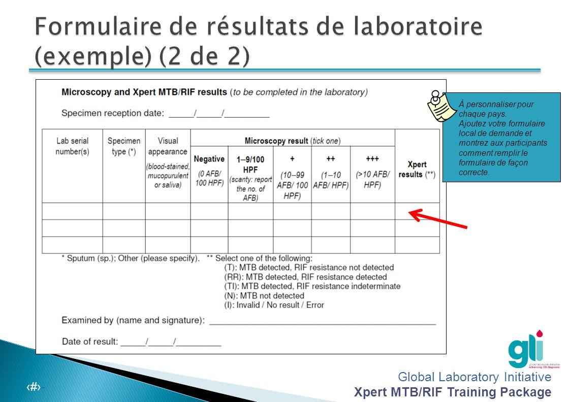 Formulaire de résultats de laboratoire (exemple) (2 de 2)