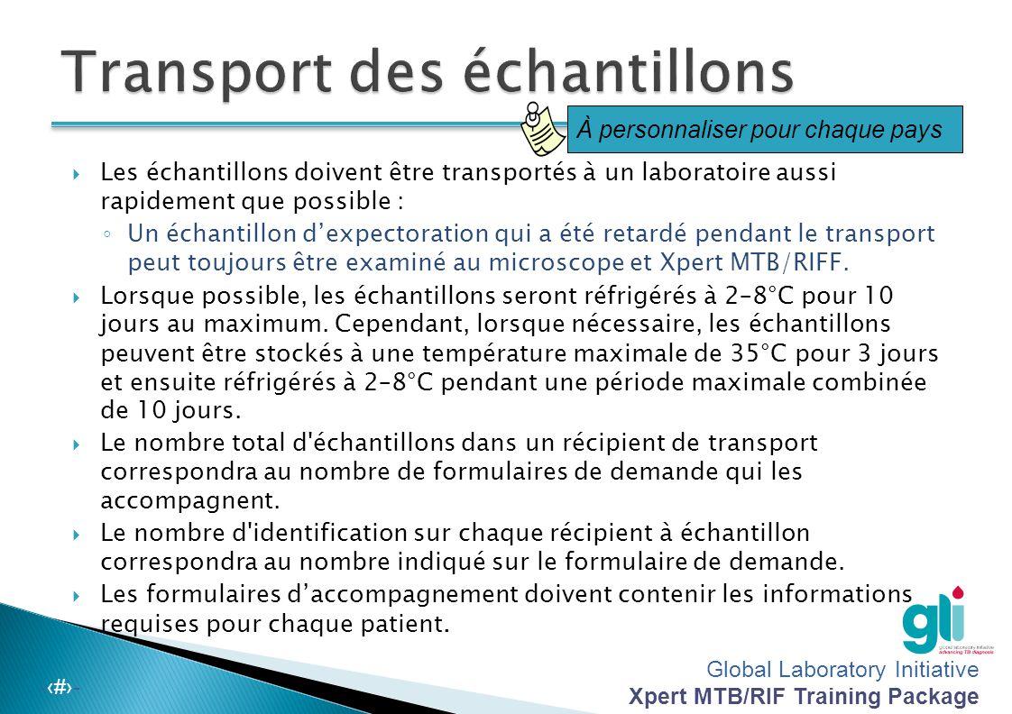 Transport des échantillons