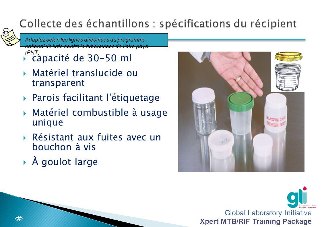 Collecte des échantillons : spécifications du récipient
