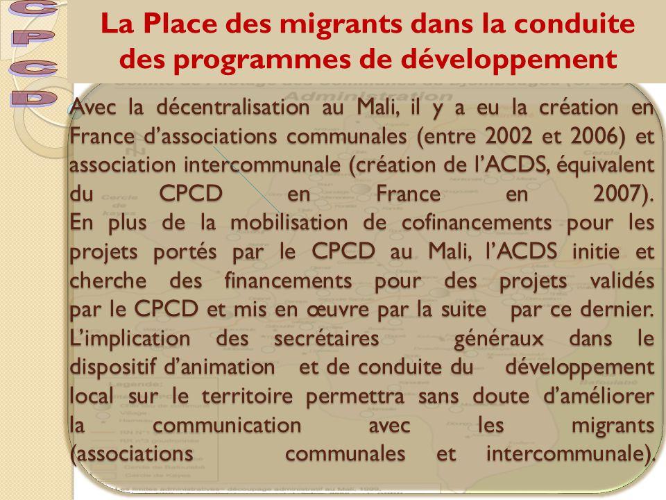La Place des migrants dans la conduite des programmes de développement