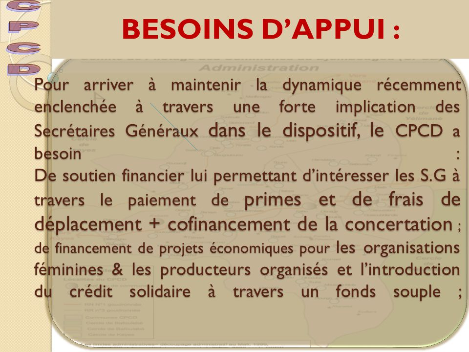 BESOINS D'APPUI : CPCD.
