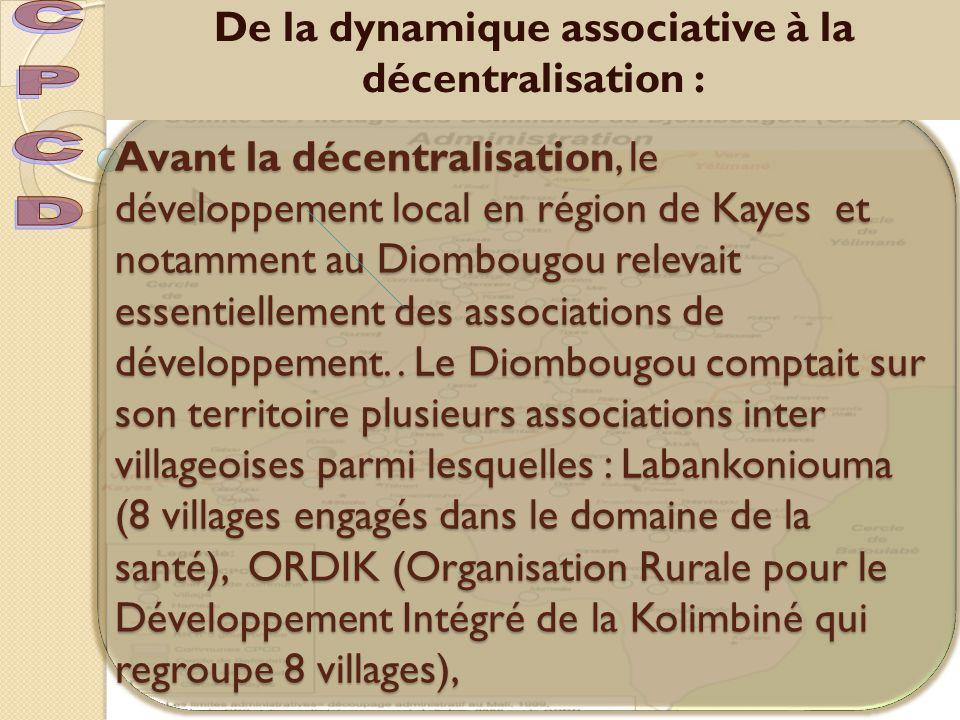De la dynamique associative à la décentralisation :