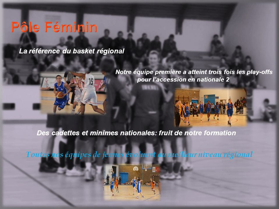 Pôle Féminin La référence du basket régional. Notre équipe première a atteint trois fois les play-offs.