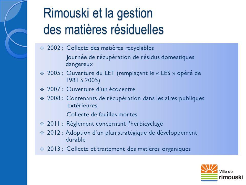 Rimouski et la gestion des matières résiduelles