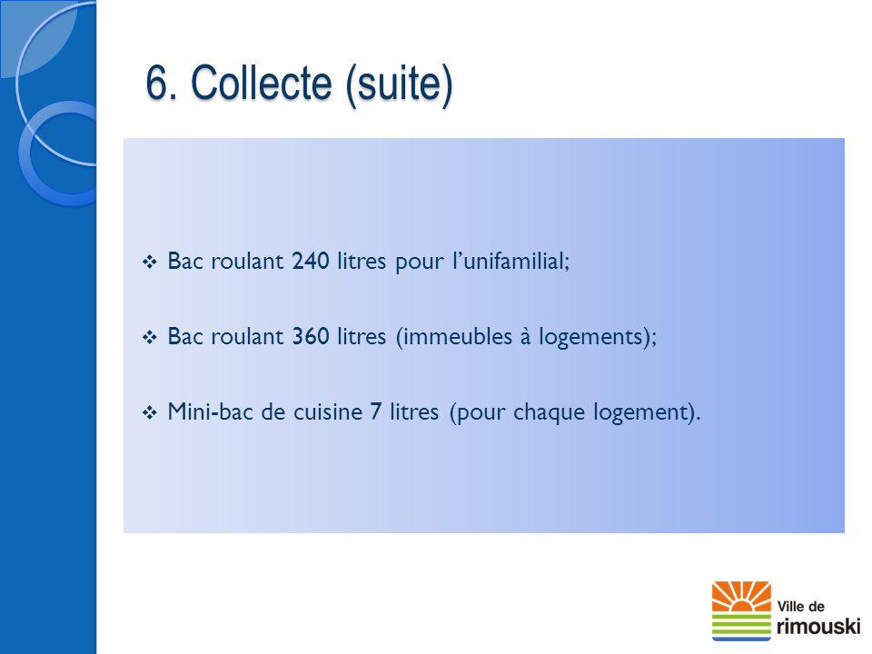 6. Collecte (suite) Bac roulant 240 litres pour l'unifamilial;