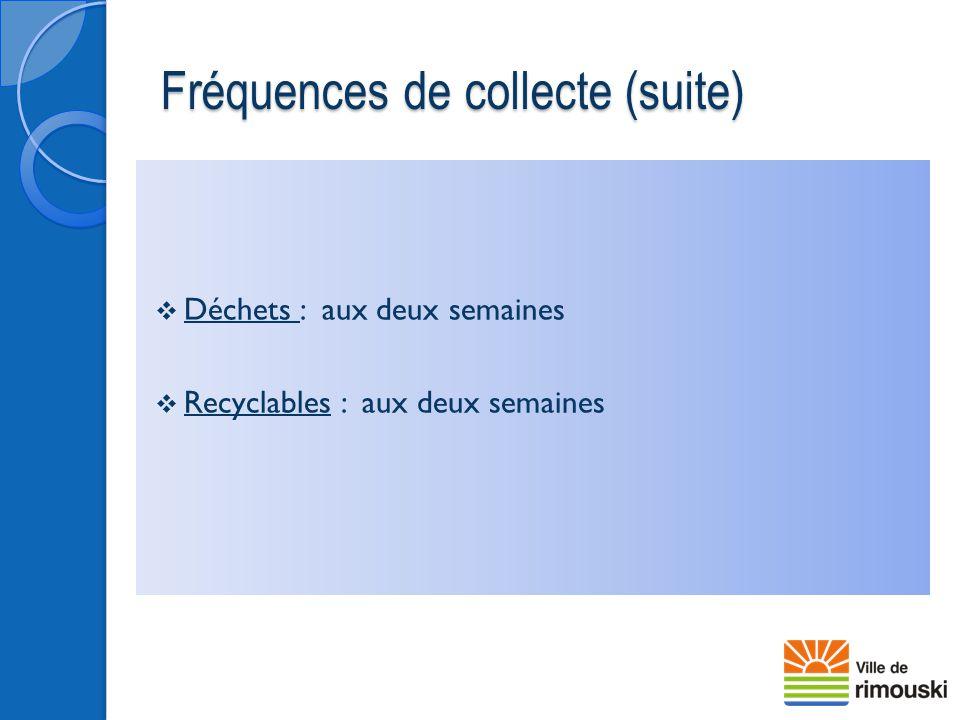Fréquences de collecte (suite)