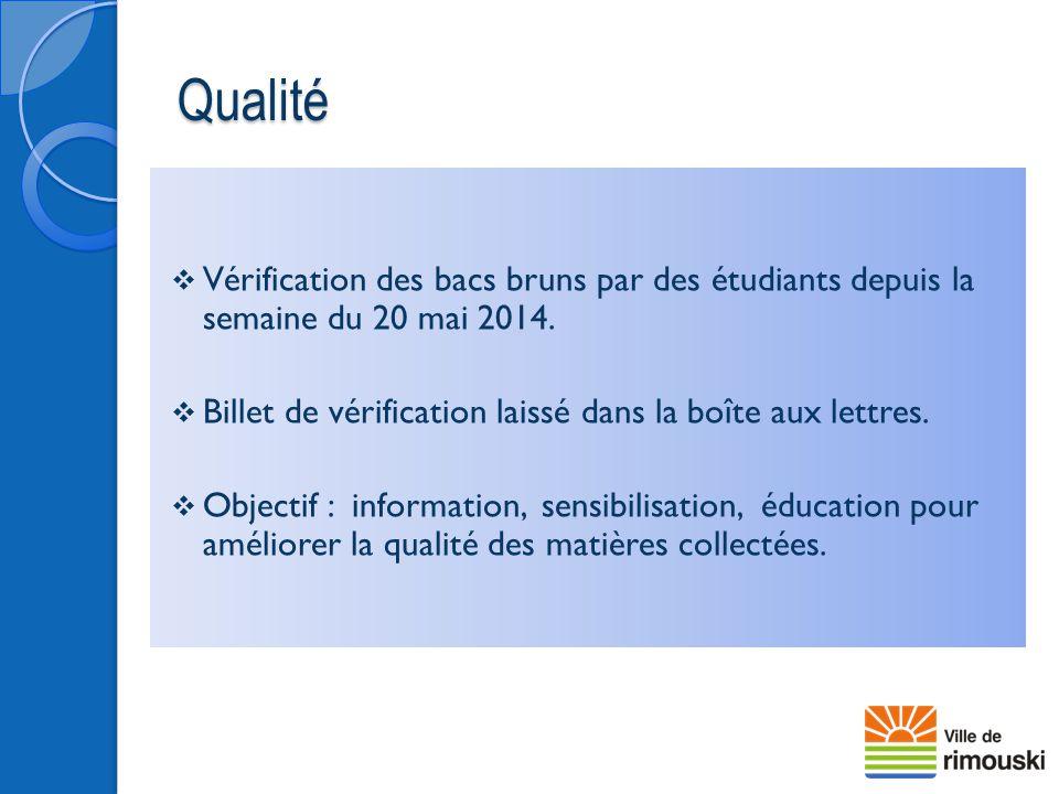 Qualité Vérification des bacs bruns par des étudiants depuis la semaine du 20 mai 2014. Billet de vérification laissé dans la boîte aux lettres.