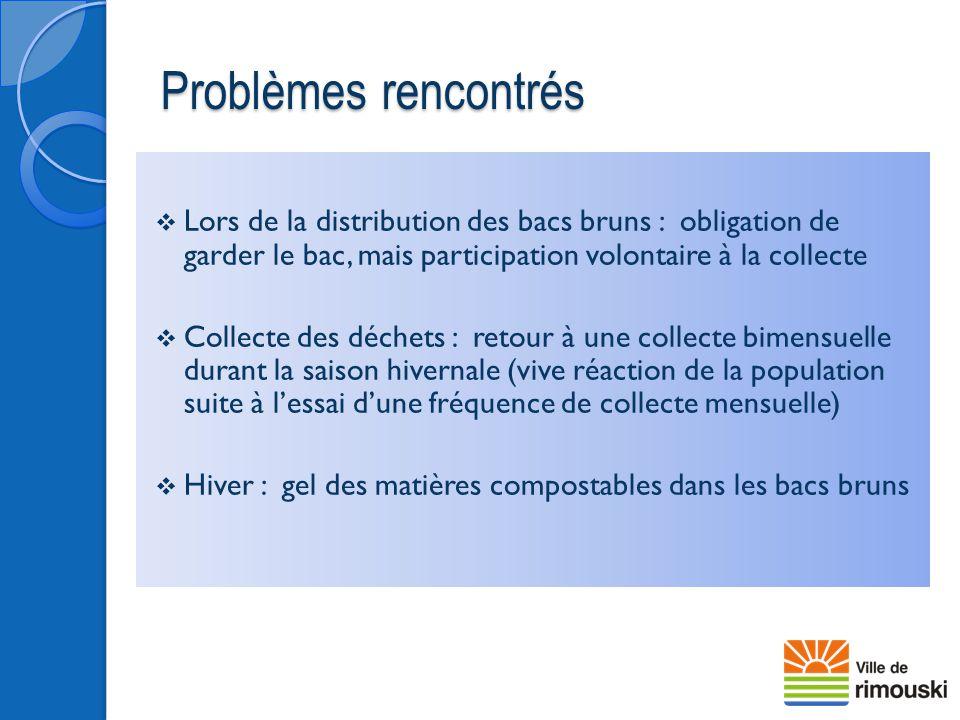Problèmes rencontrés Lors de la distribution des bacs bruns : obligation de garder le bac, mais participation volontaire à la collecte.