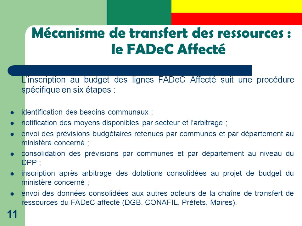 Mécanisme de transfert des ressources : le FADeC Affecté