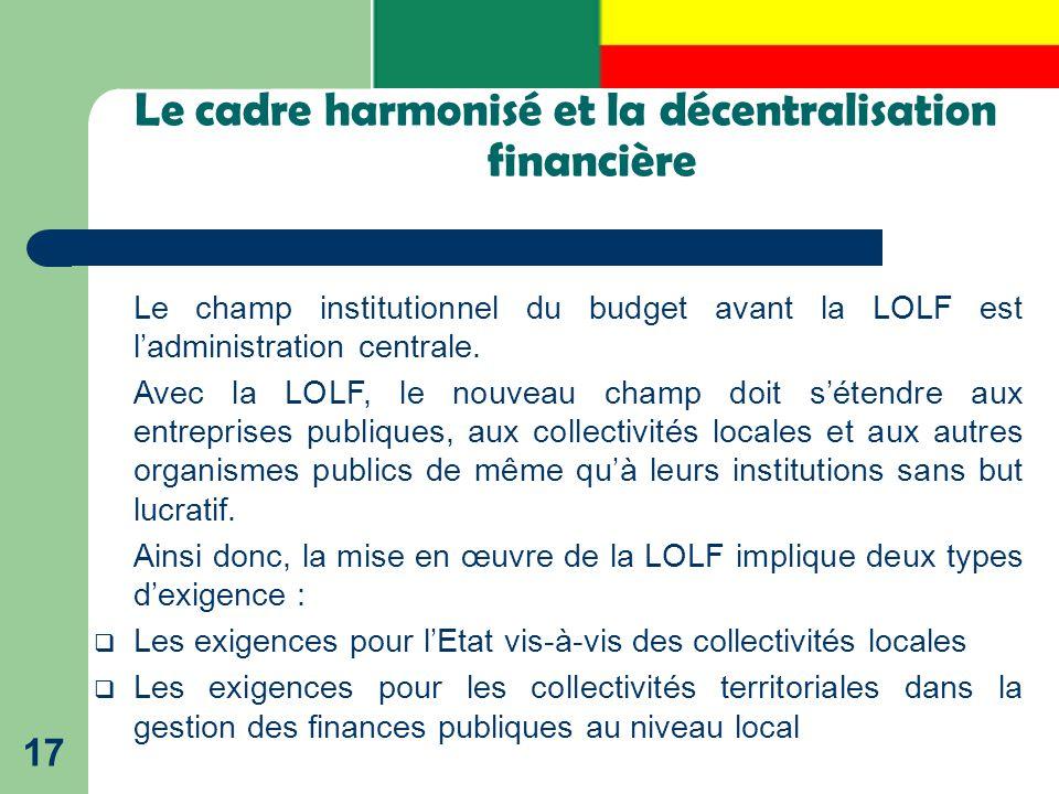 Le cadre harmonisé et la décentralisation financière
