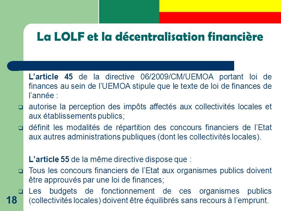La LOLF et la décentralisation financière