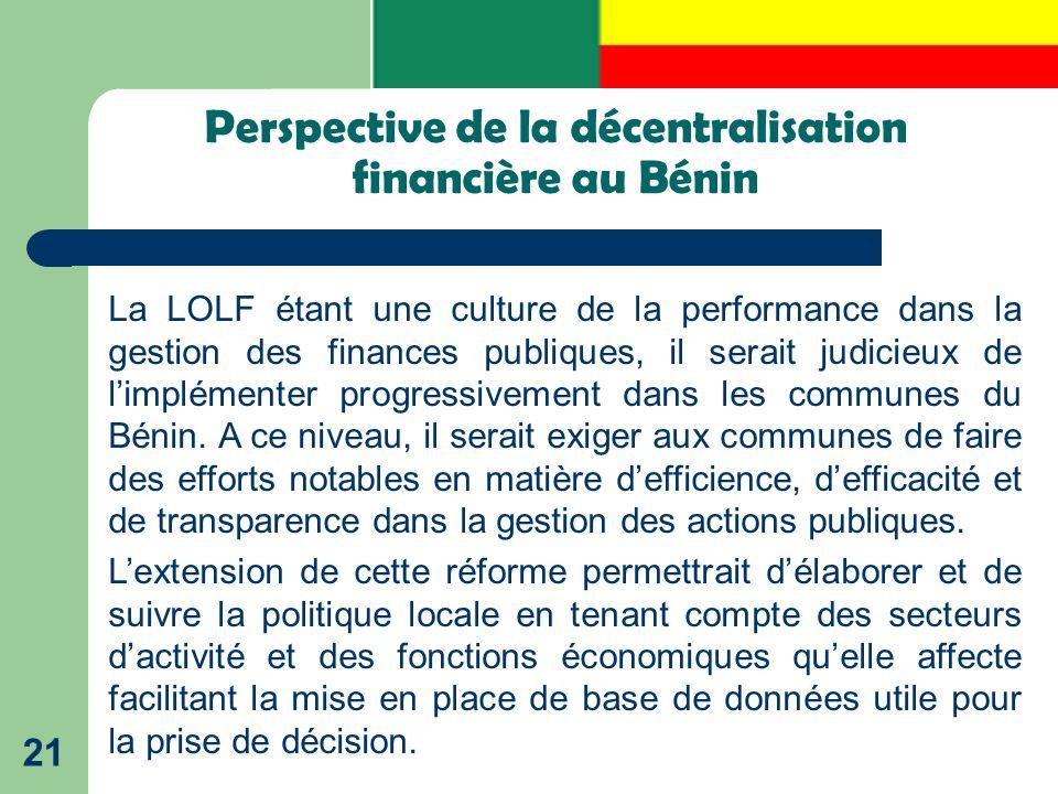 Perspective de la décentralisation financière au Bénin
