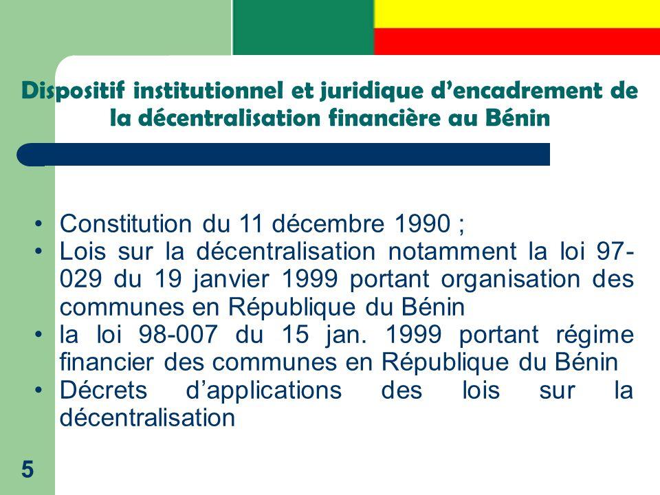 Dispositif institutionnel et juridique d'encadrement de la décentralisation financière au Bénin