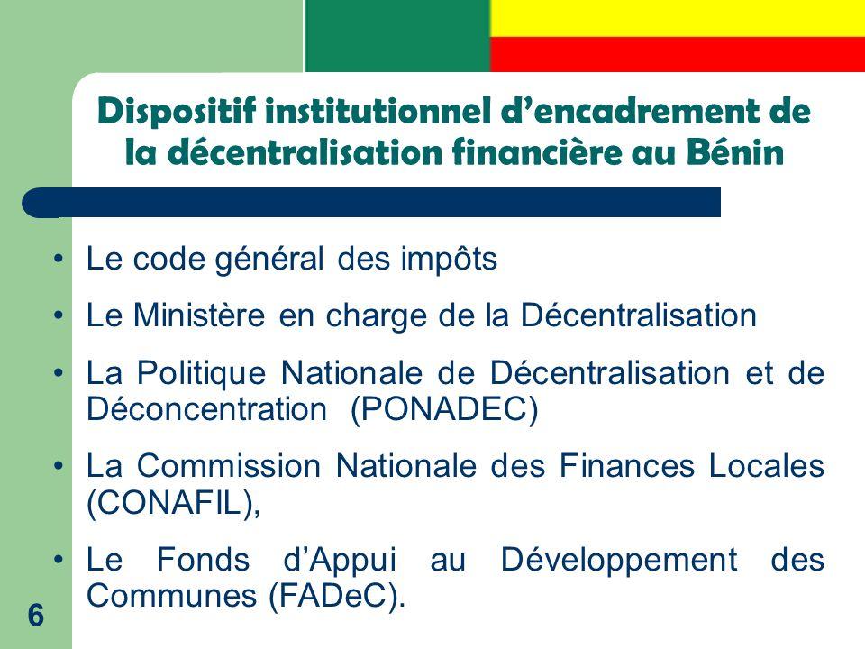 Dispositif institutionnel d'encadrement de la décentralisation financière au Bénin