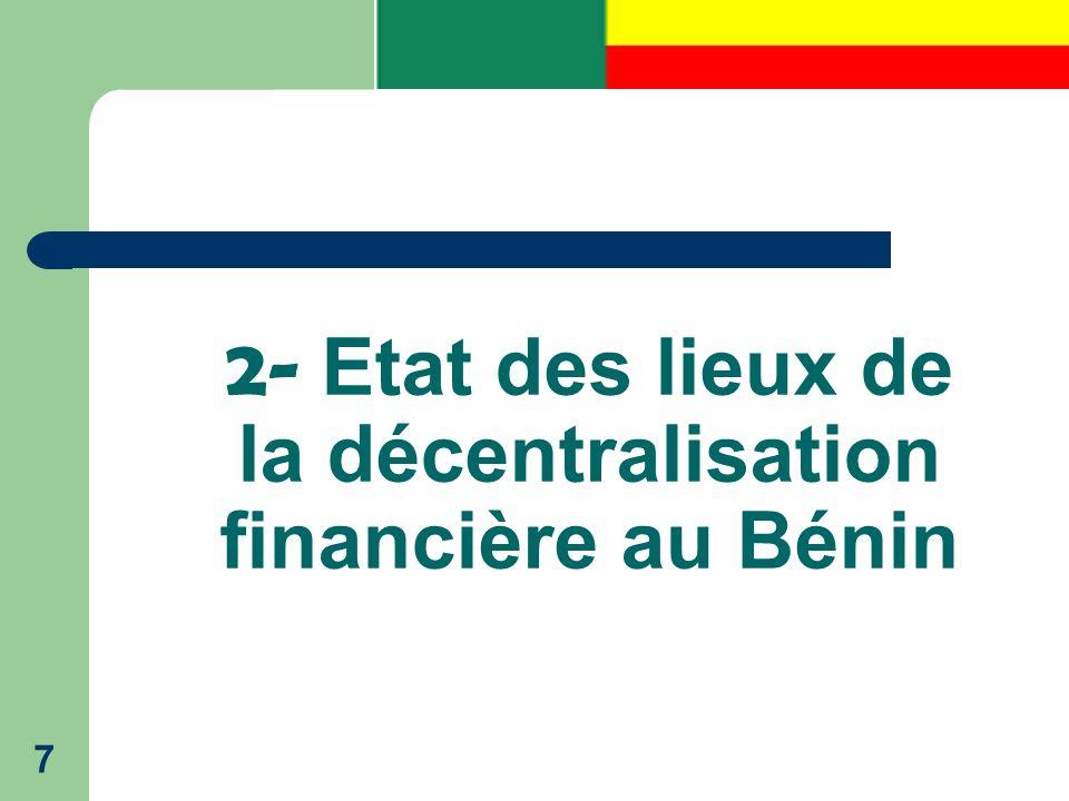 2- Etat des lieux de la décentralisation financière au Bénin