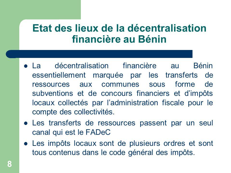 Etat des lieux de la décentralisation financière au Bénin