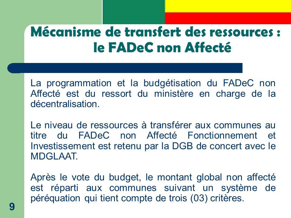Mécanisme de transfert des ressources : le FADeC non Affecté