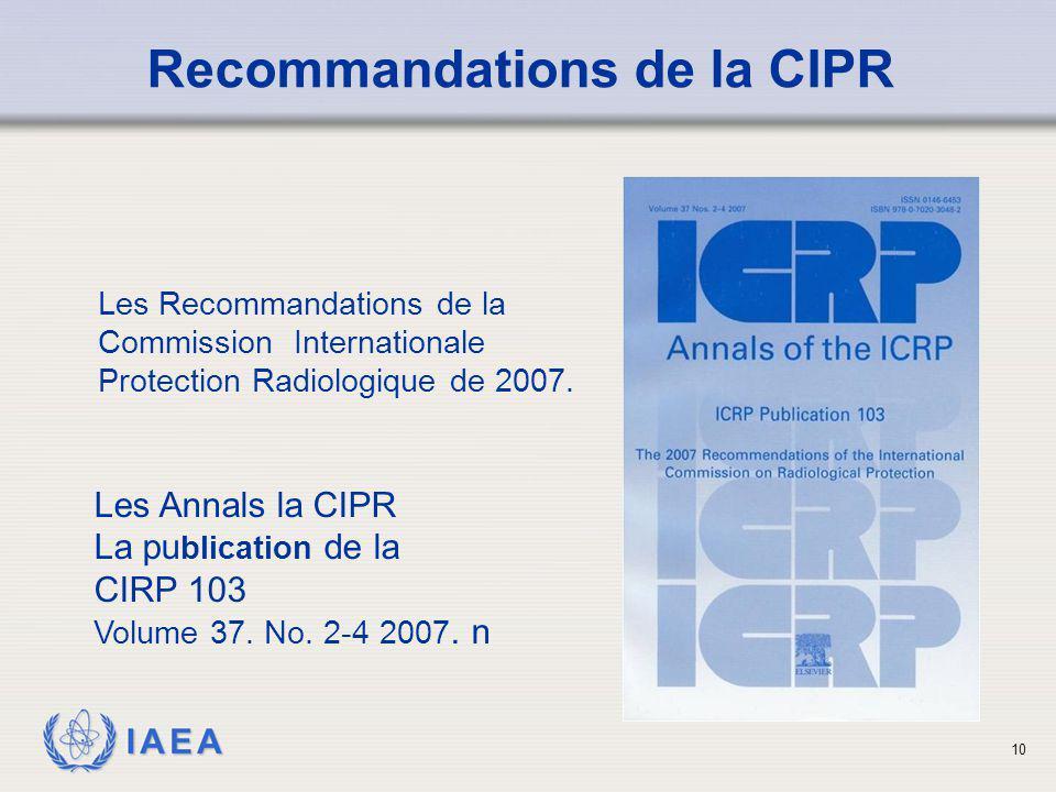 Recommandations de la CIPR