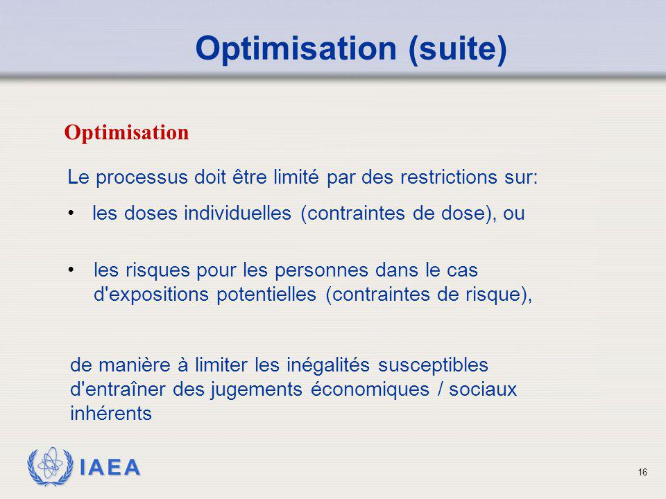 Optimisation (suite) Optimisation