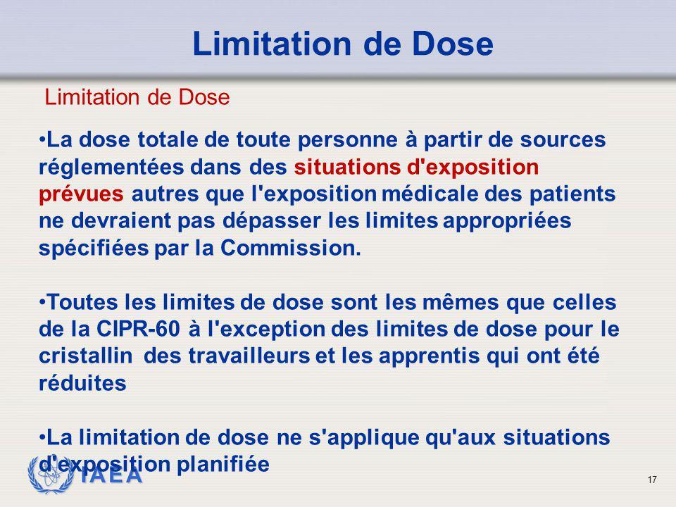 Limitation de Dose Limitation de Dose