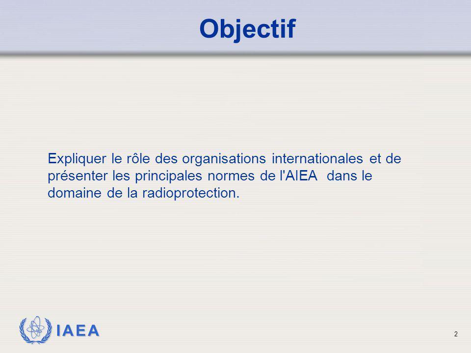 Objectif Expliquer le rôle des organisations internationales et de présenter les principales normes de l AIEA dans le domaine de la radioprotection.
