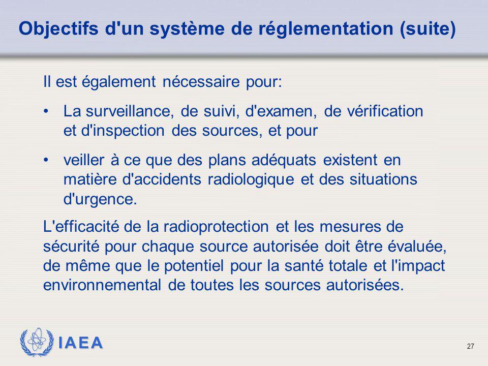 Objectifs d un système de réglementation (suite)