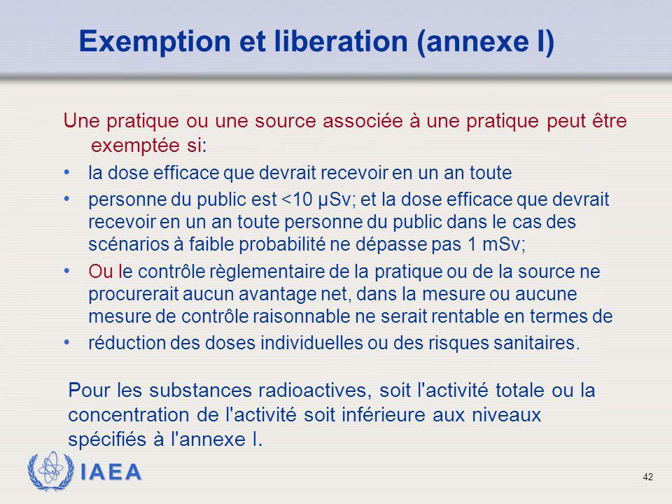 Exemption et liberation (annexe I)