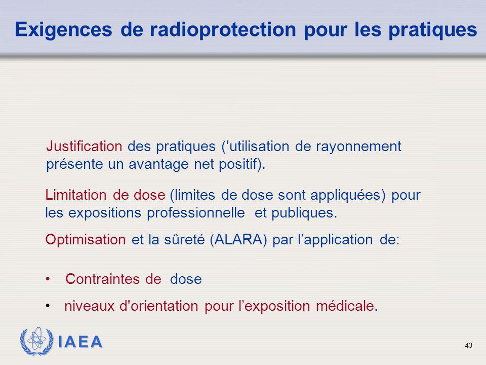 Exigences de radioprotection pour les pratiques