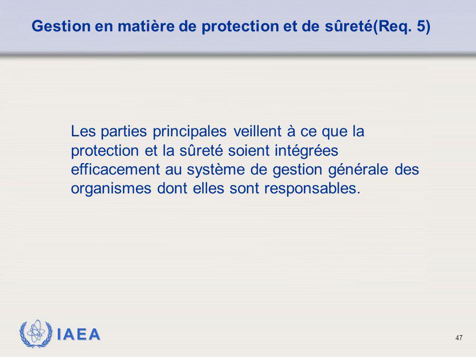 Gestion en matière de protection et de sûreté(Req. 5)