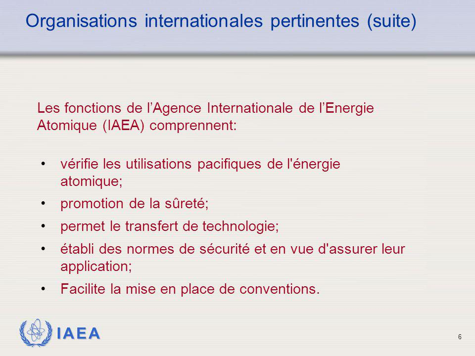 Organisations internationales pertinentes (suite)