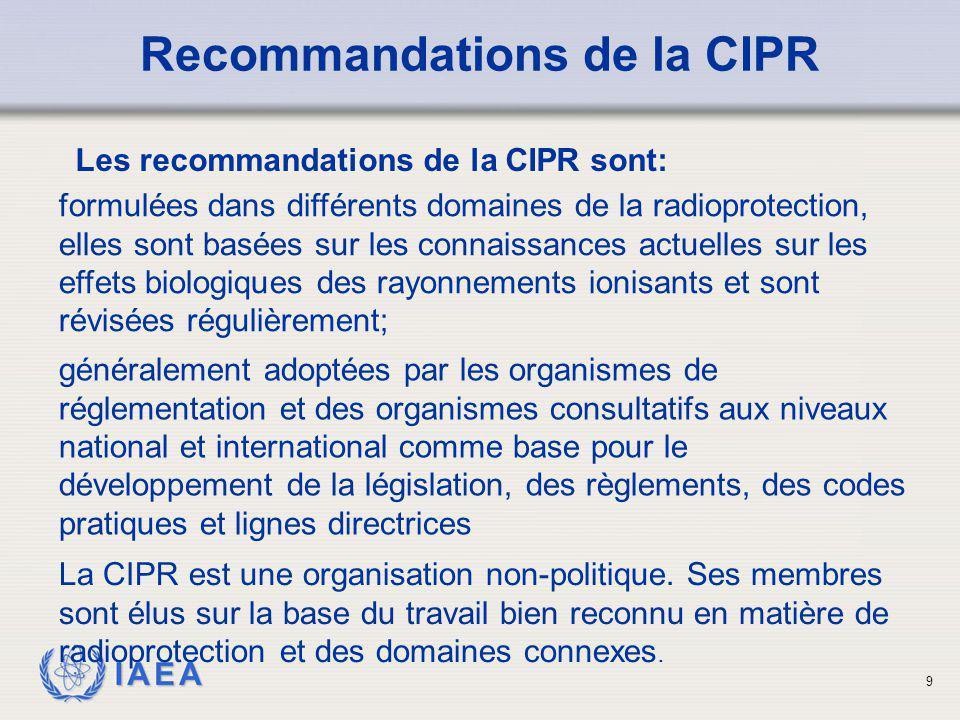 Recommandations de la CIPR Les recommandations de la CIPR sont: