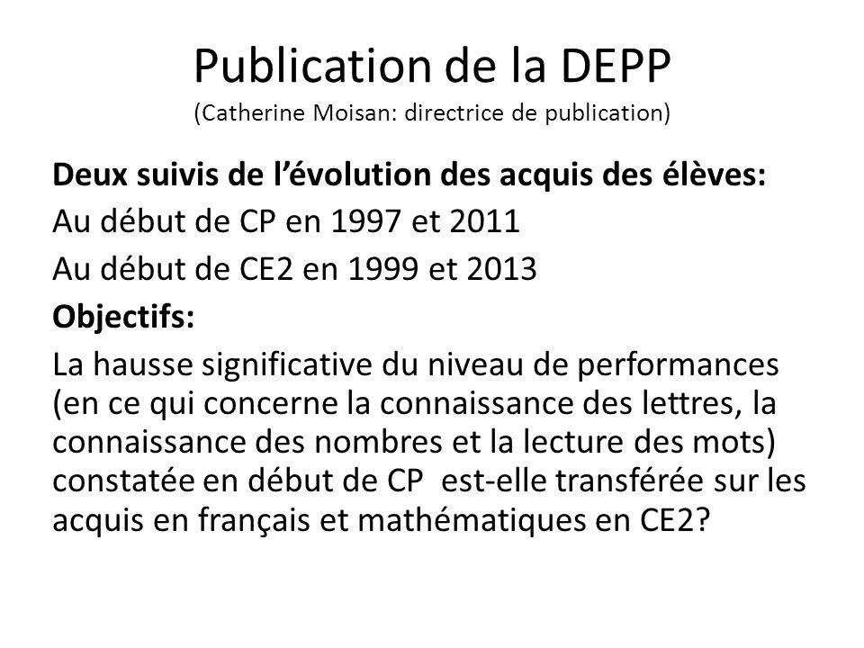 Publication de la DEPP (Catherine Moisan: directrice de publication)