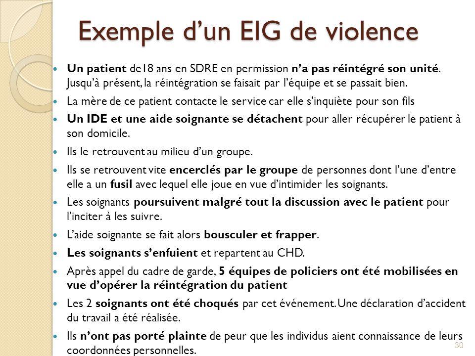 Exemple d'un EIG de violence