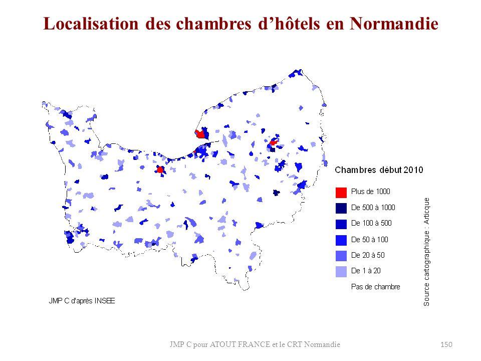 Localisation des chambres d'hôtels en Normandie