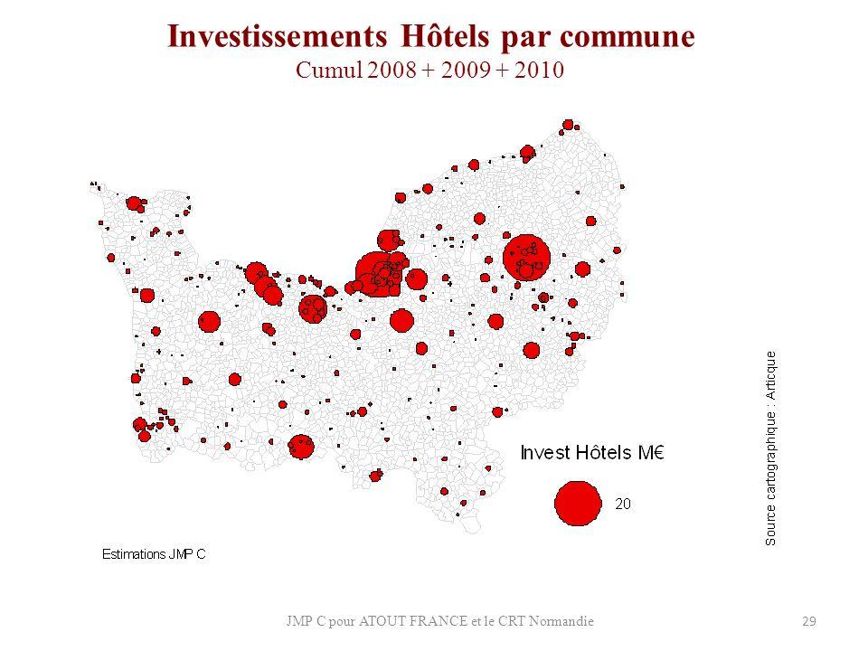 Investissements Hôtels par commune Cumul 2008 + 2009 + 2010