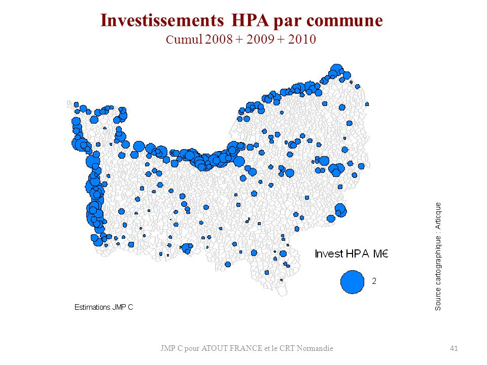 Investissements HPA par commune Cumul 2008 + 2009 + 2010