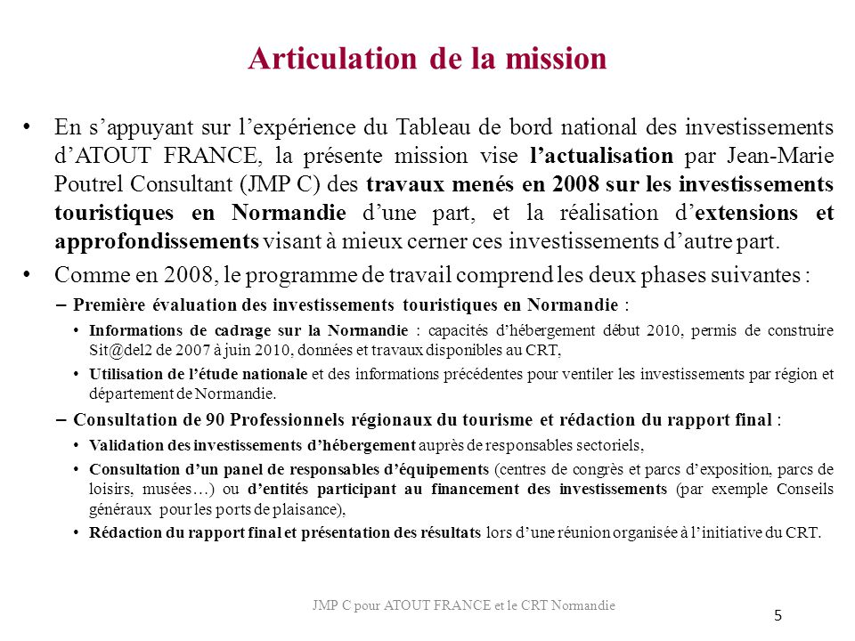 Articulation de la mission