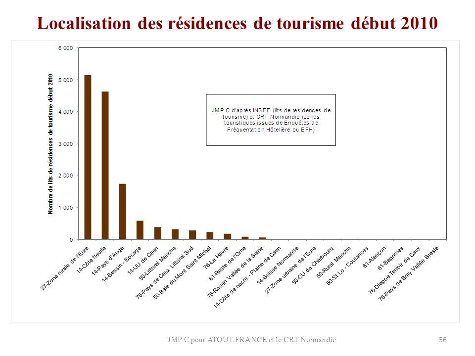 Localisation des résidences de tourisme début 2010