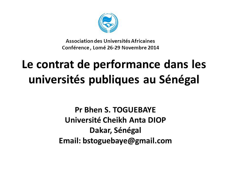 Le contrat de performance dans les universités publiques au Sénégal
